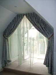 Interior Window Curtains Creative Ideas To Cover My Trapezoid Window Window Coverings