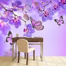 Purple Flower Wall Mural Floral Butterfly Photo Wallpaper Girls - Girls bedroom wall murals