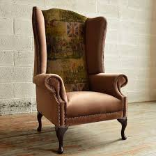 High Back Wing Armchairs Classic Armchair Velvet Wing High Back British Fox Abode