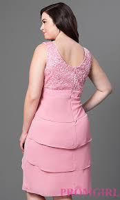 Rose Pink Knee Length Plus Size Party Dress Promgirl