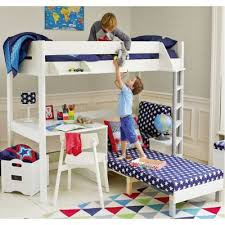 White High Sleeper Bed Frame High Sleeper With Blue Sofa Bed