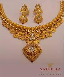 gold set nathella s gold set with kundan work jewellery designs