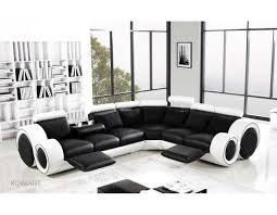 Corner Recliner Leather Sofa Designer Black And White Corner Manual Reclining Leather Sofa