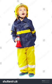 Fireman Costume Little Boy Fireman Costume Megaphone Isolated Stock Photo 74134144