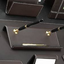 Desk Pen Stand Cocoa Brown Leather Desk Pad Collection With Chrome Plated Brass