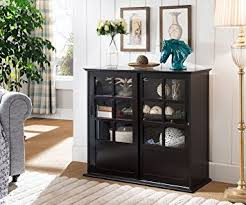 wood curio cabinet with glass doors amazon com kings brand furniture wood curio cabinet with glass