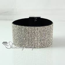 leather rhinestone bracelet images Leather crystal rhinestone snap wrap slake bracelets fashion jpg