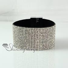 leather rhinestone bracelet images Leather crystal rhinestone snap wrap slake bracelets fashion jpg