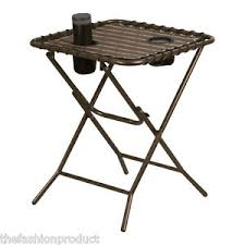 Outdoor Folding Side Table Portable Folding Side Table With Mesh Drink Holders Patio Garden