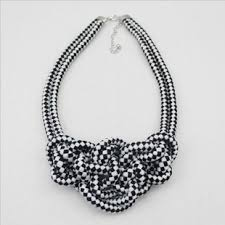 rope necklace black images Fashion black and white statement braided rope bib necklace jpg