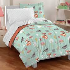 this cute in bag set features woodland animals on mint unique twin girls bedding photo