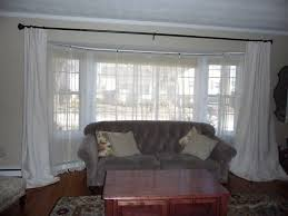 Large Window Curtains by Impressive Bay Window Curtain Rods Concerning Rustic Article