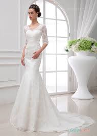 glamour v neck fit flare lace wedding dress with sheer three