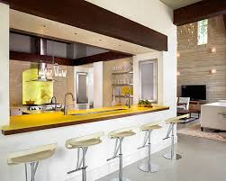 bar in kitchen ideas kitchens modern white kitchen with modern stools and yellow bar