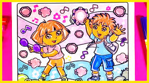 dora and diego dancing coloring pages from dora the explorer