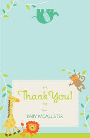 printable jungle animals thank you card template