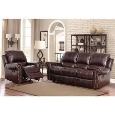 Reclining Armchairs Living Room Abbyson Broadway Top Grain Leather Reclining 2 Piece Living Room