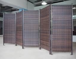 folding wicker partition screen outdoor privacy partition