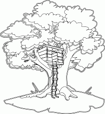 Free Tree House Coloring Pages Many Interesting Cliparts