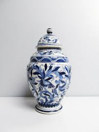 Ginger Jar Vase Vintage Ceramic Hand Painted Lidded Ginger Jar Vase In Delft