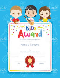 portrait colorful kids award diploma certificate template in