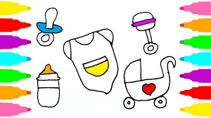 how to draw set for baby care coloring pages baby bottle