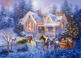 winter nice snow lights family horse frost lovely welcome snowy