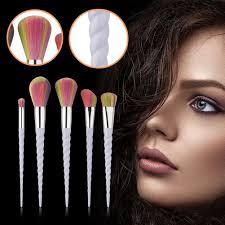 new 5pcs makeup rainbow unicorn thread white handle fan powder