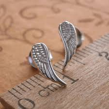 wing earrings sterling silver angel wing stud earrings silver willow jewellery