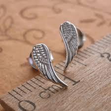 angel wing earrings sterling silver angel wing stud earrings silver willow jewellery