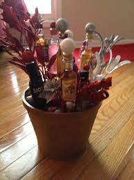 a christmas bouquet of liquor using mini bottles of liquor and