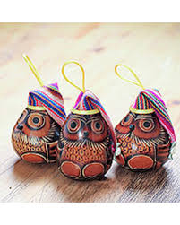 amazing deal on dried mate gourd ornaments owls set of