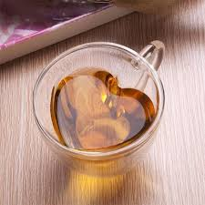 heart shaped mugs 240ml heart shaped wall layer clear glass tea cup lover