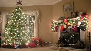 christmas tree and fireplace background hd ne wall