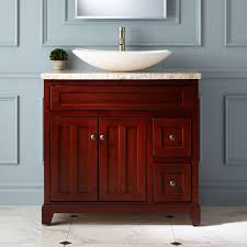 bathroom vanity with cherry finish cabinet 33 inch fixtures