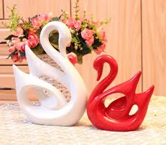 porcelain swan ornaments pottery decor for new couples home