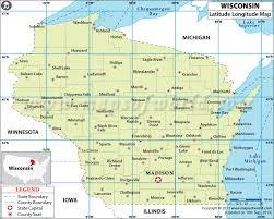 wisconsin map usa latitude and longitude map