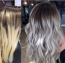 brown and blonde ombre with a line hair cut makeover softening lines to create a cool blonde hair color