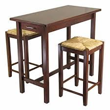 kitchen island table with stools amazon com winsome kitchen island table with 2 seat stools 2