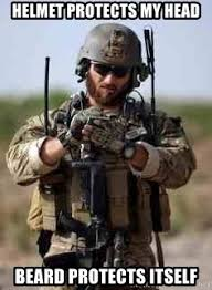 Special Forces Meme - helmet protects my head beard protects itself special forces