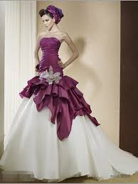 non white wedding dresses purple and ivory two tones gown wedding dresses non white