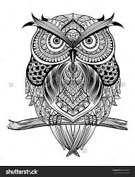 clipart owl black and white stock vector vector hand drawn owl sitting on branch black and
