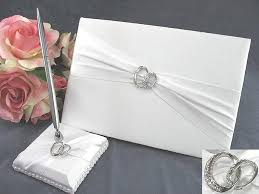 guest book and pen set rhinestone rings wedding guestbook and pen set wedding