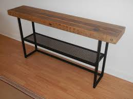 salvaged wood console table sofa hall table with shelf welded steel and salvaged lumber