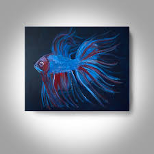 acrylic fighting fish 20 x16 canvas painting wall art home