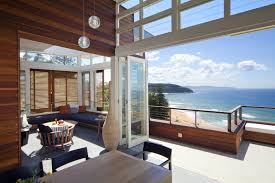 modern design of the luxury beach houses interior that has grey