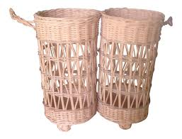 Winebaskets Vintage Wicker Double Wine Baskets A Pair Chairish