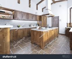 modern kitchen island modern kitchen loft style kitchenisland hood stock illustration