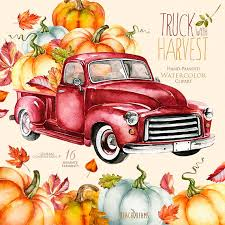 hand painted pumpkin halloween clipart watercolor red truck with pumpkins autumn leaves fall