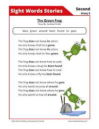 this reading comprehension worksheet the green frog is for
